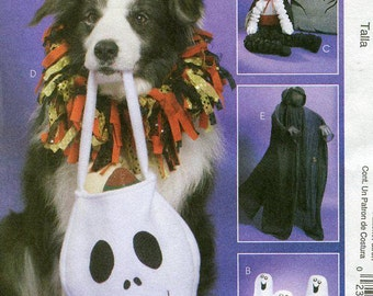 FREE US SHIP McCall's 6179 Sewing Pattern Halloween Treat Candy Bag, Dog Collar, Jack Skeleton, Dracula, Ghost Out of Print