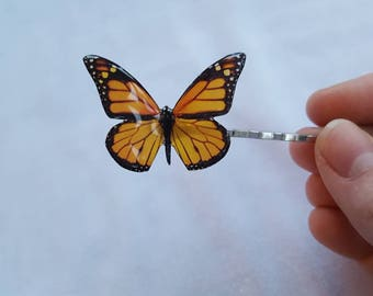 Beautiful orange monarch resin 3d butterfly bobby pin barrette