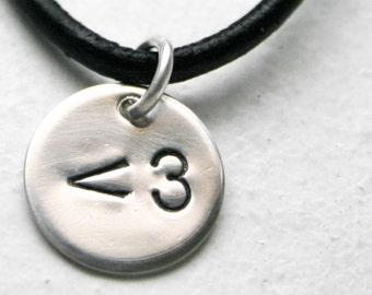 """sterling silver geekery less than three emoticon heart (love) charm on an 18"""" black leather necklace"""