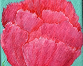 Pink Peony acrylic painting canvas art, small original peony art 5 x 5, Original Flower Painting on Canvas