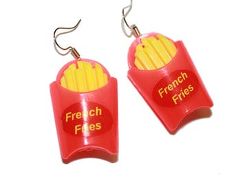 Vintage Inspired Kitsch French Fry Earrings - fries kitschy jewelry vintage inspired colorful kids toy vintage children's kids toy jewelry