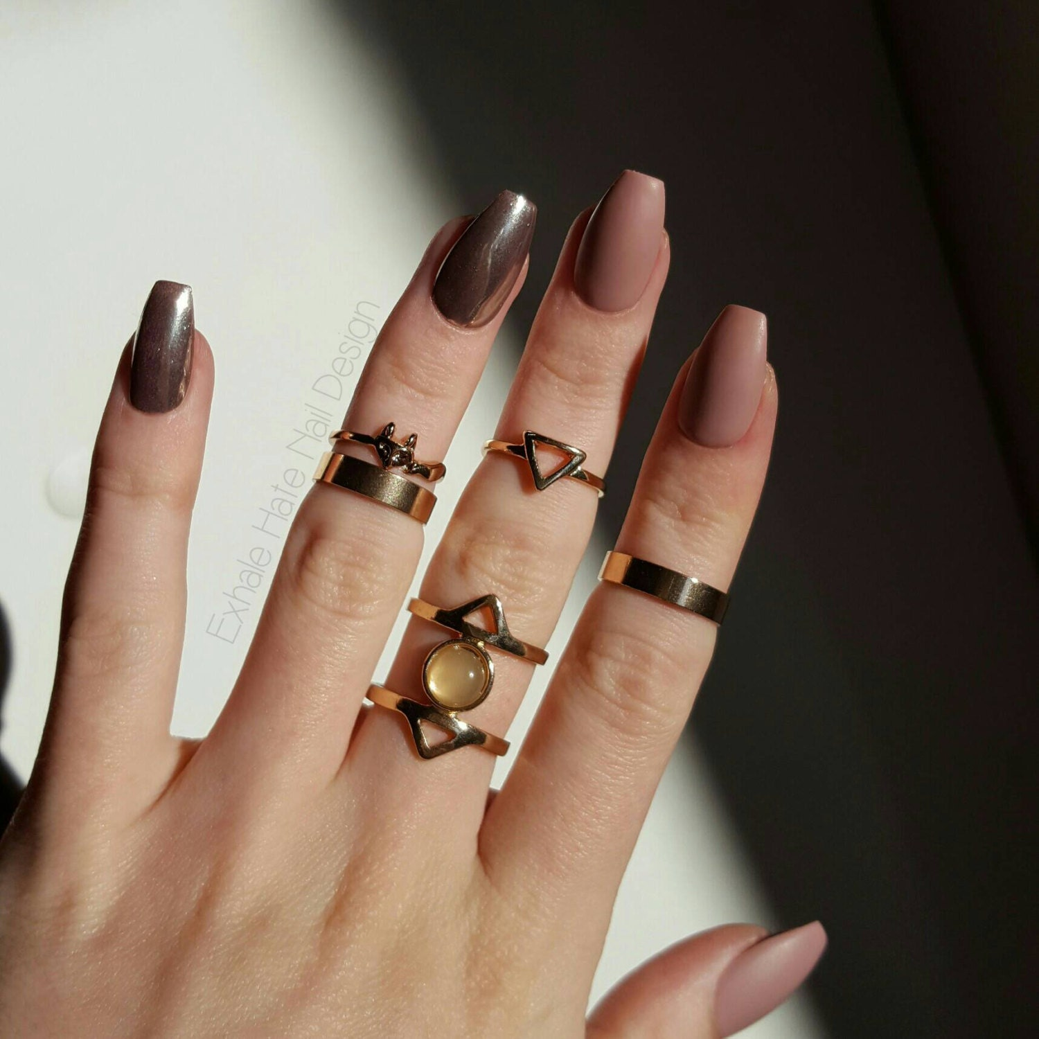 Matte Toffee Nude and Rose Gold Chrome Glue on Gel Fake Nails from ...