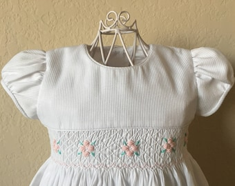 Size 1/2/3 Hand Smocked Girls' Dress - White with Flower Accents