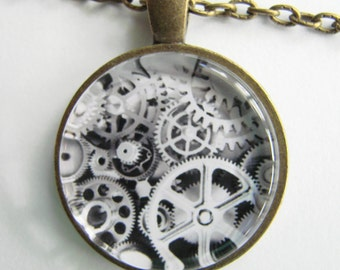 Steampunk GEARS and GEARS Necklace -- Technology Art for him and her, Industrial art necklace, Metalic shades of steel necklace