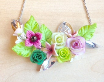 Pink and green necklace breastplate, with cold porcelain flowers, matching earrings