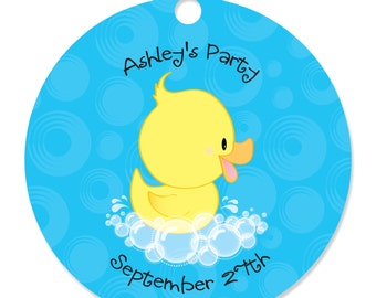 Ducky Duck Personalized Party Tags - Baby Shower or Birthday Party DIY Craft Supplies- 20 Count