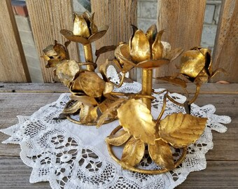 Italian Gold-Tone Candle Holders  - Roses and Leaves – Pair