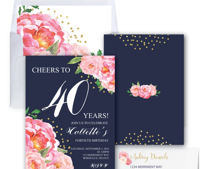 40th Birthday Invitation // Fortieth Birthday Invitation // Pink // Navy // Flowers // Peony // Pink // Gold Glitter // BORDEAUX COLLECTION
