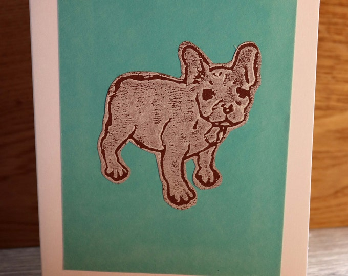 French Bulldog Greeting Card, Blank inside, Hand printed & paper cut on to green background, love dogs, pooch, fur baby, pet, woof, Birthday