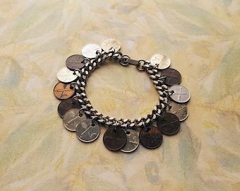 "Vintage Foreign Coin Charm bracelet,Silver tone,7.5"" long,16 charms,1/4"" thick bracelet,1957 COINS,Helvetia"
