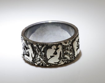 """Erotic couple wedding ring, wide designer contemporary band, """"Song of Songs"""" ring, made in Israel."""