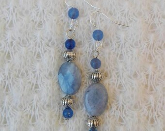 Agate earrings, blue agate, gemstone earrings, semiprecious stones, long earrings, blue earrings, blue pearls, teardrop earrings, gift for her
