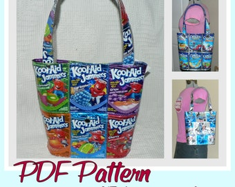 Juice Pouch Bucket Bag sewing pattern (PDF - instant download) DIY purse made using recycled juice pouches, novelty purse