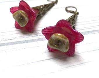 Victorian Filigree Flower Earrings. Long Drop Earrings. Pink. Honey Gold. Lightweight. Garden. Romantic. Nature. Fairy. Handmade Jewelry.