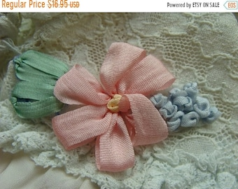 ONSALE Vintage Pink Silk Ribbon Embroidery Luxurious Applique Mint Condition