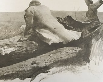 1952 Andrew Wyeth (American 1917) study for April Wind African American Man