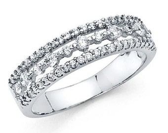 14k Solid White Gold 0.75 Ct. Diamond Wedding or Anniversary Ring Band