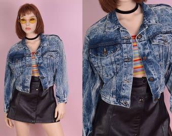 80s Acid Wash Cropped Denim Jacket/ Small/ 1980s/ Jean Jacket