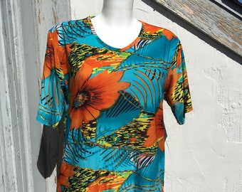 Vintage tropical blouse Silky jersey knit top Large bright floral print Summer Holiday wear short sleeves slip on style Gift size Large
