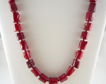 Red Coral Necklace Red Bamboo Coral Necklace Bright Red Coral Necklace Chunky Coral Necklace Red Coral Strand Short Bamboo Coral Necklace