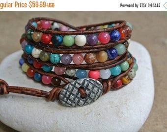 SALE 50% OFF JustHipStuff  Bohemian Gemstone  Beaded Leather Wrap Bracelet