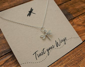 """Sterling Silver Dragonfly Necklace//Sterling Silver//Dragonflies//Trust Your Wings""""//Dragonfly Charm"""
