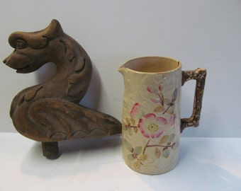 1880s Apple Blossom Antique Majolica Aesthetic Movement Majolica Pitcher Twig Handle Basketweave Victorian Antique Pitcher Victorian Maj