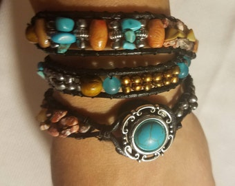 Hand-crafted, triple wrapped turquoise and earth stone bracelet