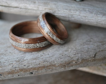 Wood Wedding Bands - Silver Wedding Band - Bentwood Rings - Wooden Rings - Walnut Wedding Rings - Silver Inlay Rings - Wedding Band Sets