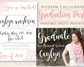 Modern Calligraphy Inspired Printable Graduation Party Invite w/ Photo!