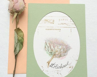 Art Postcard with botanical illustration - Artichoke - Watercolor with hand stamped antique stamp. Fine art. Hand painted. OOAK Card.