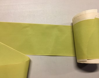 Vintage Taffeta Ribbon, Chartreuse, made of Nylon, 4 1/4 inches wide, Price is per Yard