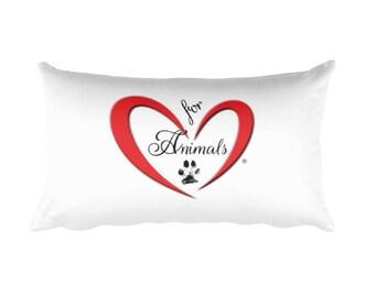 Heart of Love for Animals - Rectangular Pillow