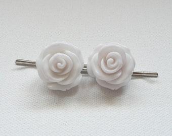 nhp-White Rose Hair Pins