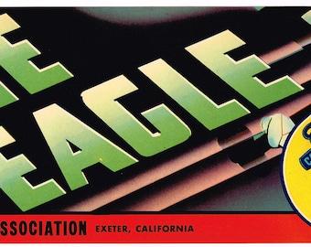 Original vintage grape crate label 1940s Lone Eagle Aviation Spirit Of St. Louis Charles Lindbergh California