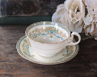 Aynsley Tea Cup and Saucer Set Henly OrnateVintage Teacup Set English Bone China Matron of Honor Gift Ca. 1980s Green Backstamp