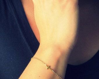 Gold Sideways Cross Bracelet, thin chain bracelet, Gold Cross Bracelet, Asymmetrical Cross, Side Cross Bracelet