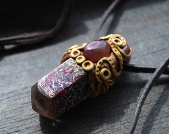 Crystal Orgonite® orgone pendant Agate Handsculpted Clay