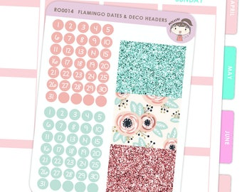 Dates and Glitter Headers - Flamingo / Planner Stickers
