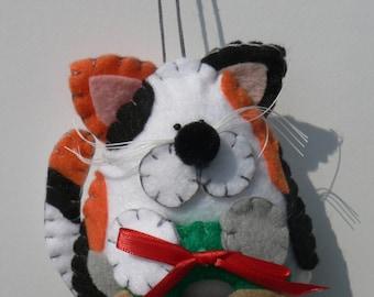 Felt Cat Ornament - Calico Cat