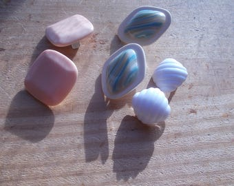 a small collection  of Spring...Easter earrings 3 clip on . pretty.pastels .. great  assortment  and    great condition!......