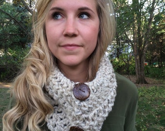 Crocheted Cowl Scarf with Buttons Handmade in USA