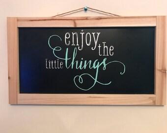 Wooden framed chalkboard sign