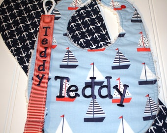 Nautical Boy Gift Set, Personalized Designer Bib, Baby Burp Cloth, Pacifier Clip, Sailboat Baby Boy Gift, Baby Accessories, Unique Baby Gift