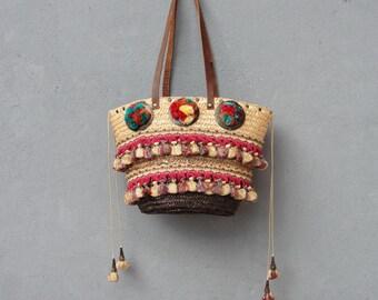 Bohemian Summer Bag, Pompom Boho Bag, Vintage tassel trims, pompoms, Leather Straps