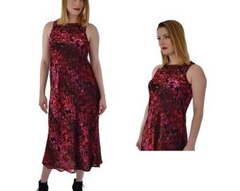 90s Burnout Velvet Dress-Vintage Bias Cut Dress-Velvet-Burgundy-Black-Midi Length-Sleeveless- S-Small-M-Medium