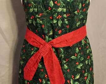 Green, Holly Leaves/ Berries, Christmas/Winter time Bib Apron