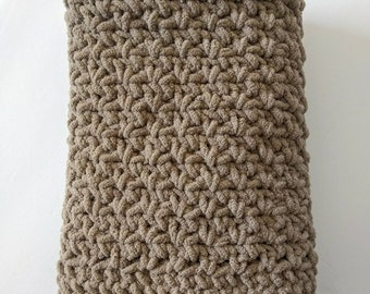 Simple, neutral toned LARGER crochet baby blanket/throw in 2 sizes