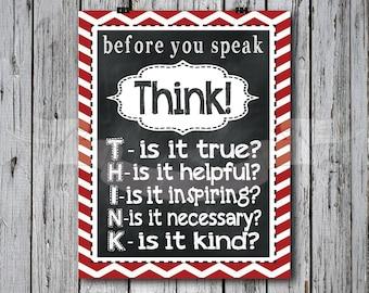 Red - Think before you Speak Chalkboard Print, typography, subway art, children, playroom, bedroom
