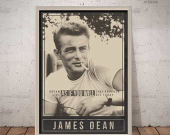 JAMES DEAN Poster - Quote Retro Poster - Movie Print Actor Print Film Poster Wall Art Alternative Movie Poster  sc 1 st  Etsy & James dean wall art | Etsy